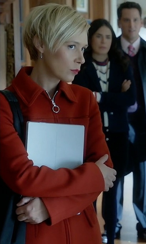 Liza Weil with Zara Front Pockets Coat in How To Get Away With Murder