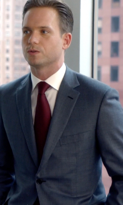 Patrick J. Adams with Ralph Lauren Anthony Shark Skin Suit in Suits