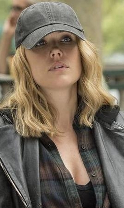 Megan Boone with Topshop Leather Biker Jacket in The Blacklist