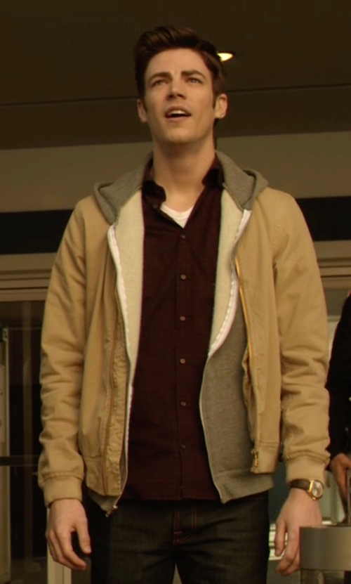 Grant Gustin with Le Coq Sportif Bomber Jacket in The Flash
