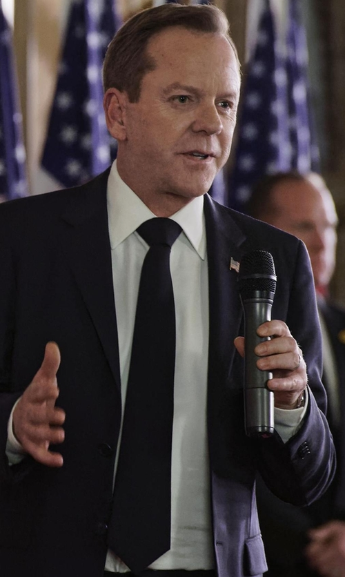 Kiefer Sutherland with Tom Ford Solid Wool Tie in Designated Survivor