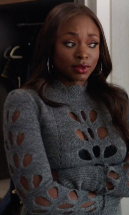 Naturi Naughton with Isabel Marant Illia Cut Out Jumper Sweater in Power