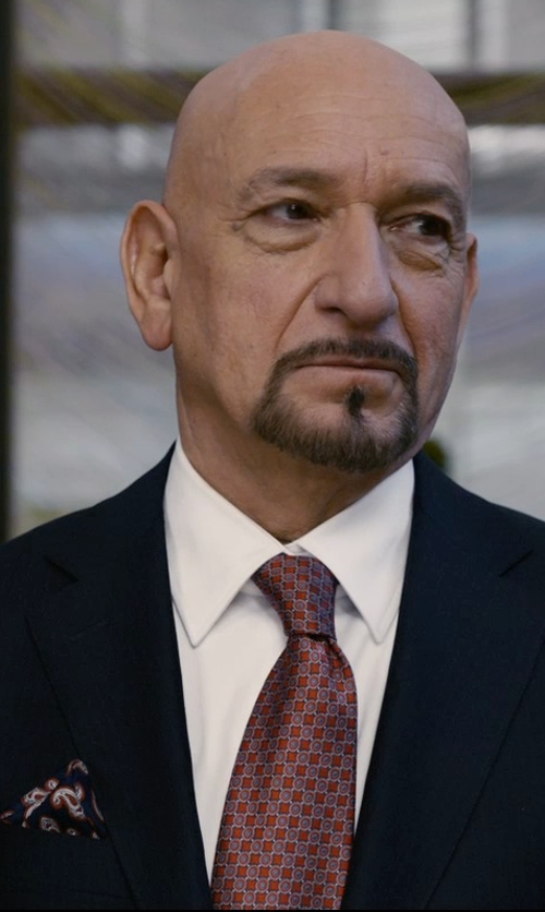 Ben Kingsley with Salvatore Ferragamo Gancini-Print Tie in Self/Less