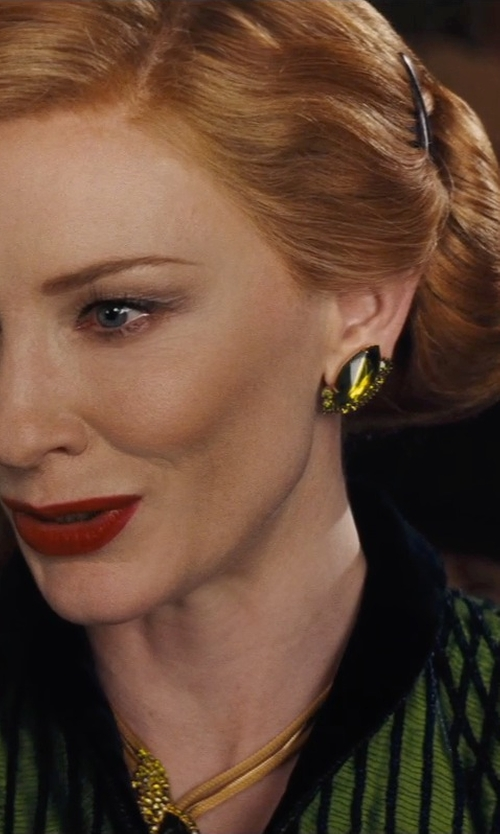 Cate Blanchett with Sandy Powell (Costume Designer) Custom Made Emerald Stone Necklace (Lady Tremaine) in Cinderella