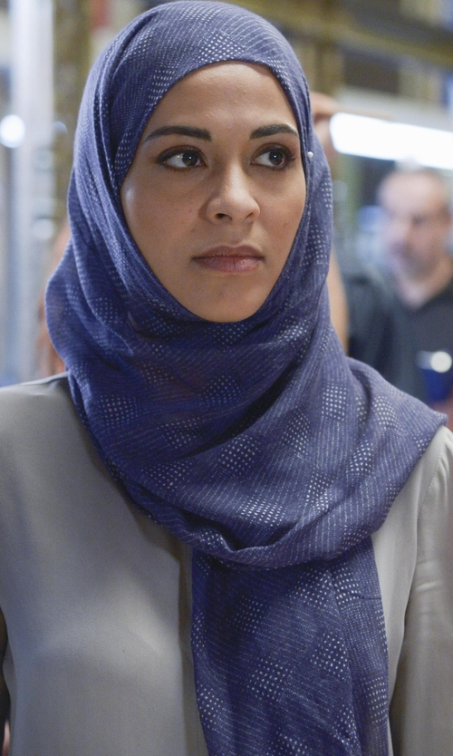 Yasmine Al Massri with Arte Oblong Scarf in Quantico