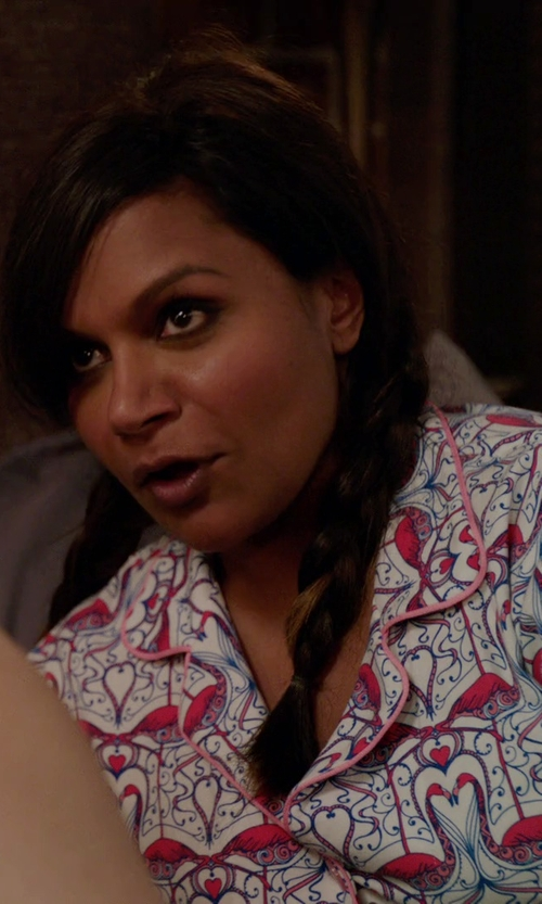 Mindy Kaling with Bedhead Coral Flamingo Stretch Classic Pajama Set in The Mindy Project