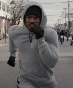 Michael B. Jordan with Jordan All-Around Pullover Hoodie in Creed