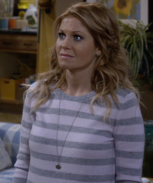 Candace Cameron Bure with Brooks Brothers Variegated Stripe Crewneck Sweater in Fuller House