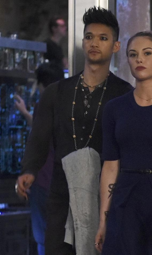 Harry Shum Jr. with John Varvatos Long-Sleeved Wool Henley Shirt in Shadowhunters