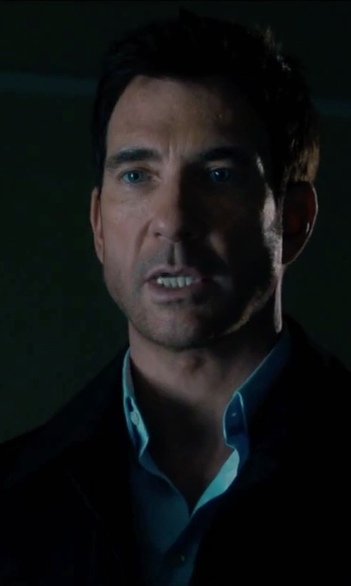 Dylan McDermott with Turnbull & Asser Blue Double-Cuff Cotton Shirt in Survivor
