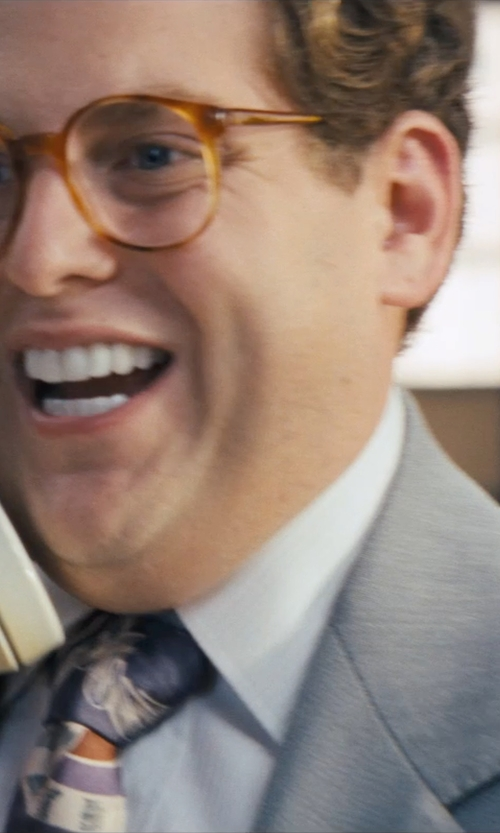 Jonah Hill with Michael Michael Kors Suit Light Grey Stripe in The Wolf of Wall Street