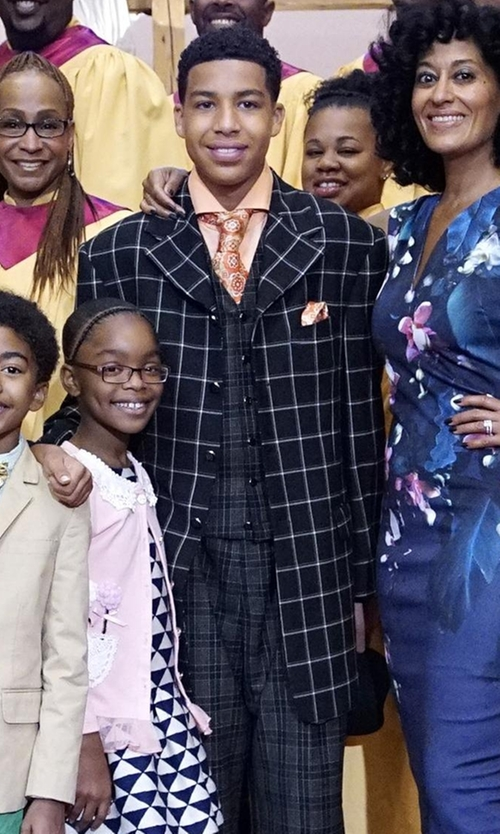 Marcus Scribner with Canali Windowpane Check Blazer in Black-ish