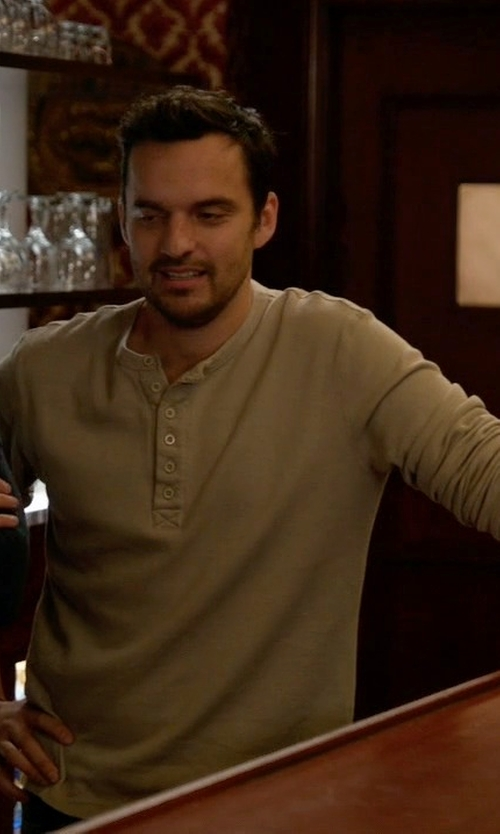 Jake Johnson with Nudie Jeans Fairtrade Organic Henley T-Shirt in New Girl