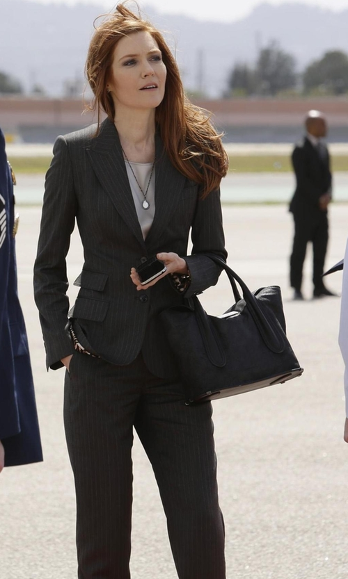 Darby Stanchfield with Le Suit Two-Button Pinstriped Pantsuit in Scandal