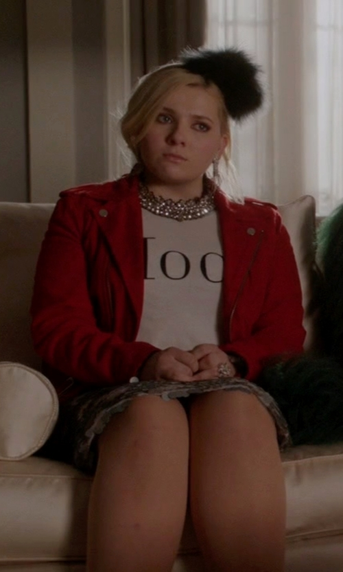 Abigail Breslin with IRO Ashville Leather Moto Jacket in Scream Queens