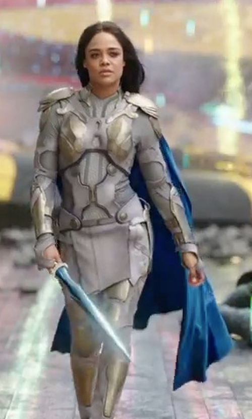 Tessa Thompson with Mayes C. Rubeo (Costume Designer) Custom Made White Valkyrie Costume in Thor: Ragnarok