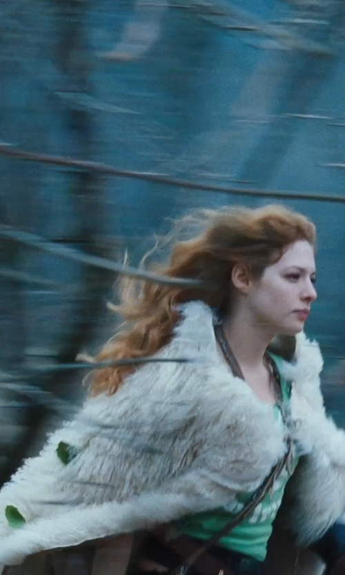 Rachelle Lefevre with Helan Apparel Faux Fox Fur Shawl Cloak Cape in Twilight