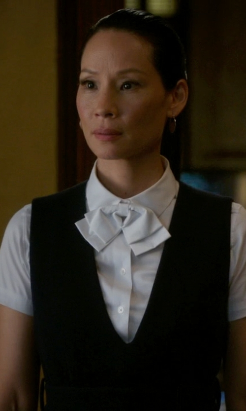 Lucy Liu with Moschino Bow Detail Blouse in Elementary