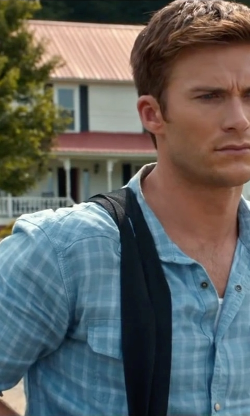 Scott Eastwood with Espirit Regular Fit Chest Pockets Check Shirt in The Longest Ride