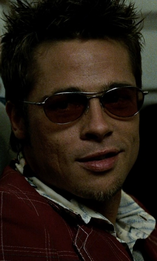 Brad Pitt with Oliver Peoples Aero Aviator Sunglasses in Fight Club