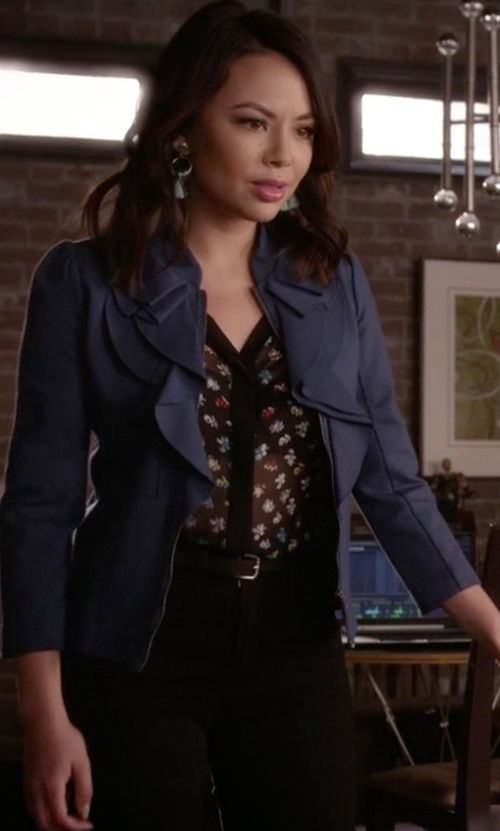Janel Parrish with Diane von Furstenberg Daisy Buds Mariah Combo Shirt in Pretty Little Liars