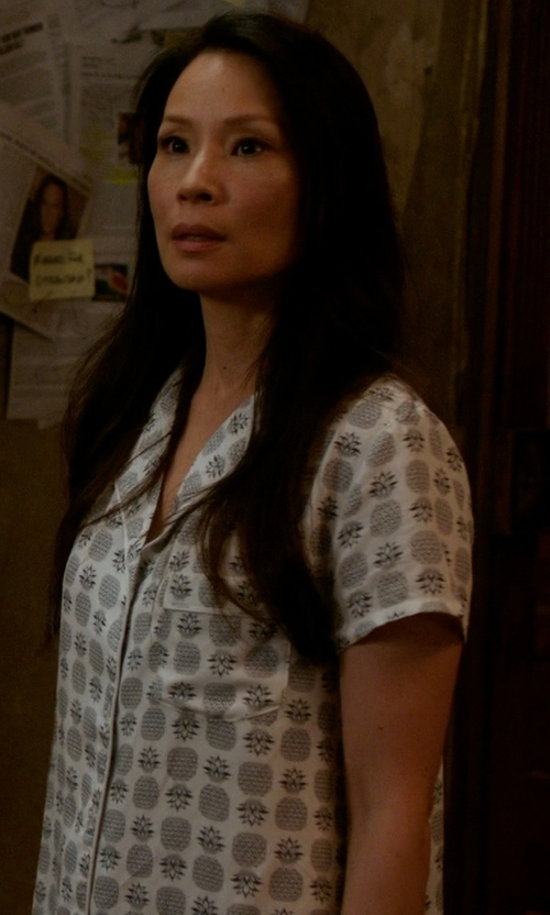Lucy Liu with Splendid Woven Classic Pajama Set in Elementary