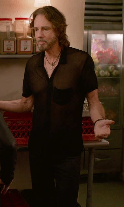 Rick Springfield with Emporio Armani Stainless Steel Black Leather Bracelet in Ricki and the Flash