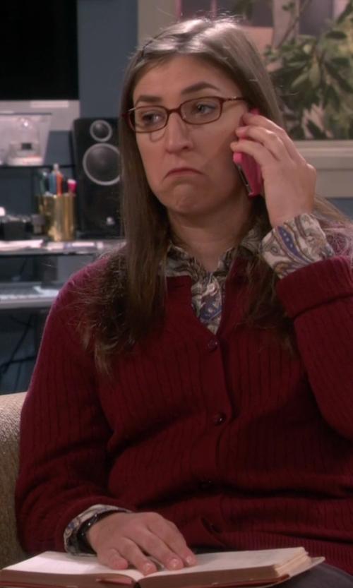 Mayim Bialik with Electric Eyewear ED01 Strap Watch in The Big Bang Theory