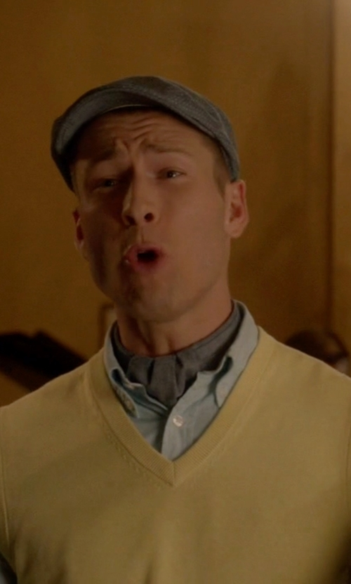 Glen Powell with Brooks Brothers Sweater Vest in Scream Queens