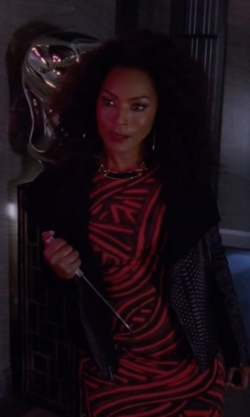 Angela Bassett with Censured Quilted Biker Jacket in American Horror Story