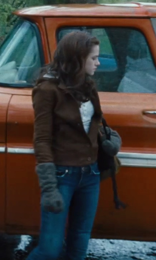 Kristen Stewart with Lucky Brand Ultra Curvy Sofia Bootcut Jeans in Twilight