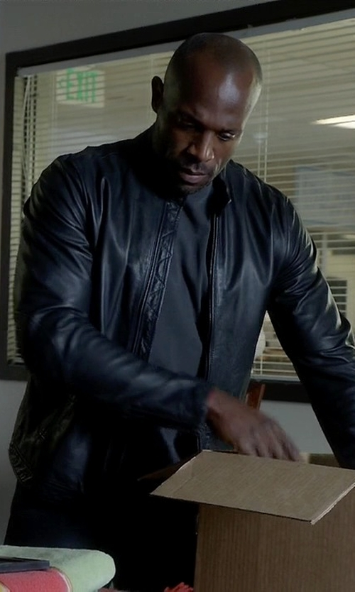 Billy Brown  with Andrew Marc Vince Windsor Lambskin Leather Racer Jacket in How To Get Away With Murder