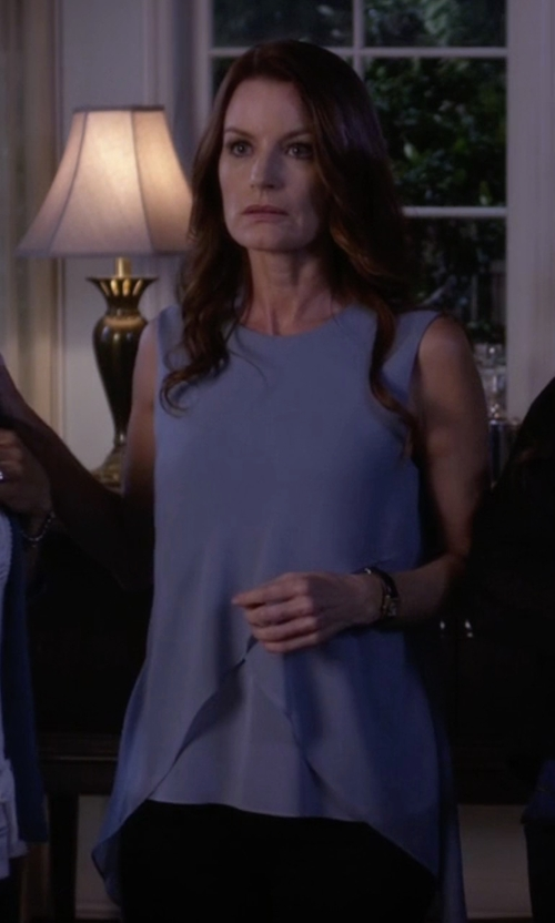 Laura Leighton with BCBGMAXAZRIA Lorielle Asymmetrical Drape Top in Pretty Little Liars