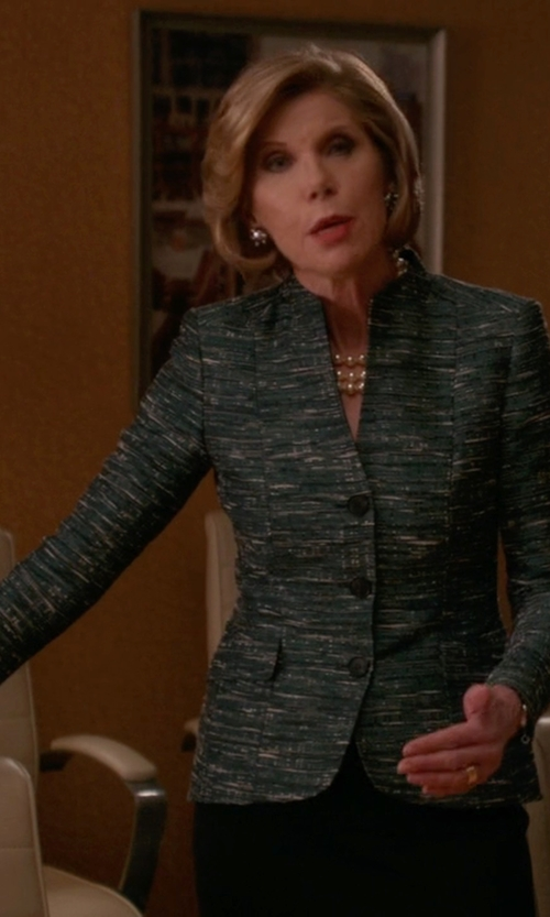 Christine Baranski with Akris Punto Tweed Pattern Blazer in The Good Wife