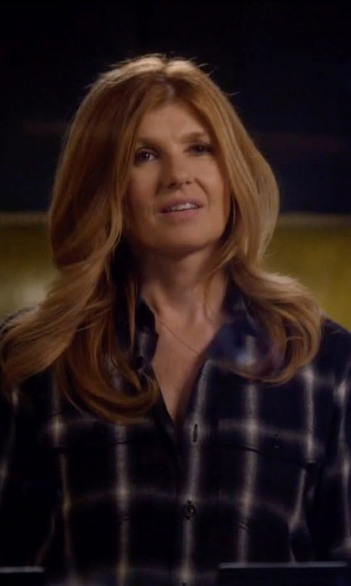 Connie Britton with Saint Laurent Classic Plaid Shirt in Nashville