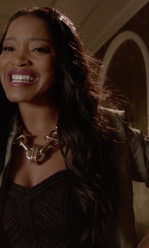 Keke Palmer with Asos Cropped Bomber Jacket in Scream Queens