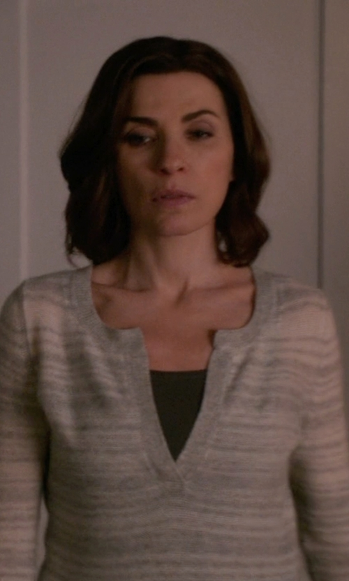 Julianna Margulies with NYDJ Regatta Stripe Split Neck Tunic Top in The Good Wife