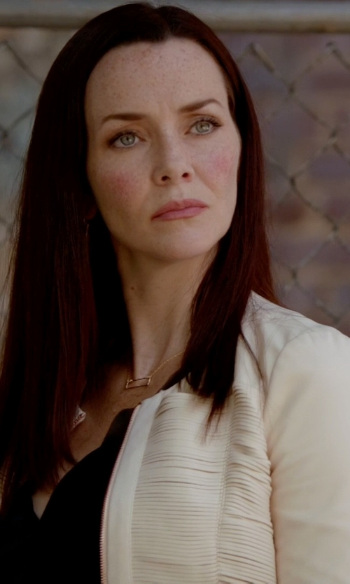 Annie Wersching with Tamara Mellon Zip Front Jacket in The Vampire Diaries