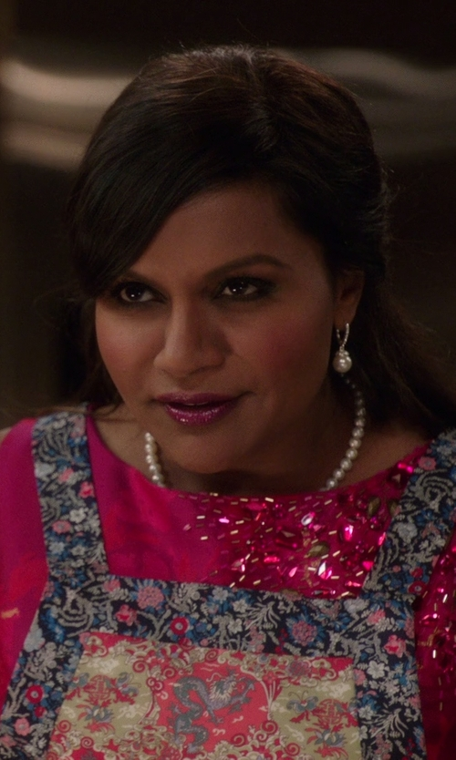 Mindy Kaling with Lagos 'Luna' Pearl Drop Earrings in The Mindy Project