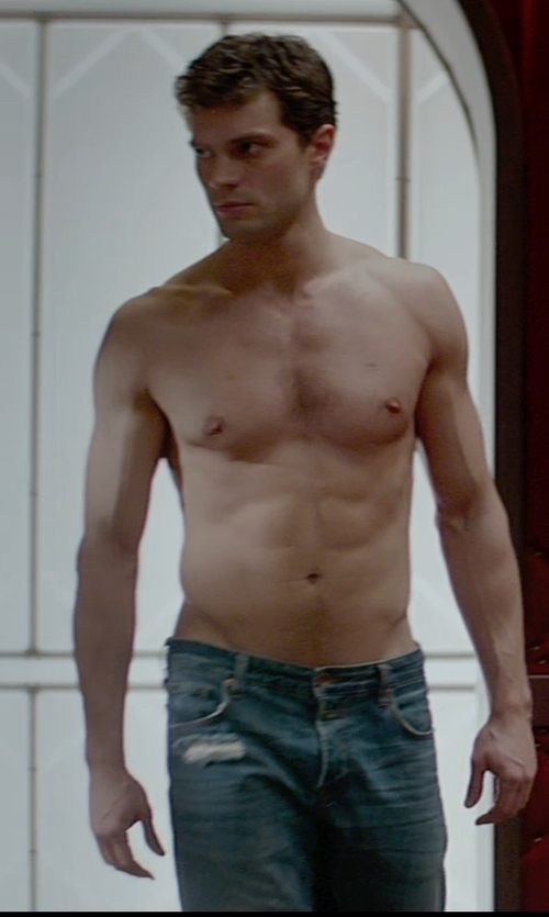 Jamie Dornan with Ralph Lauren Tapered-Straight Dylan Jeans in Fifty Shades of Grey
