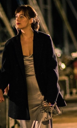 Dakota Johnson with Rene Caovilla Leather Crystal Swirl Sandals in Fifty Shades Darker