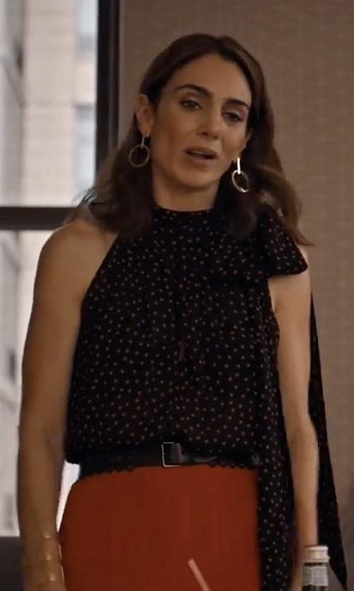 Annie Parisse with Kate Spade Spot Chiffon Ruffle Top in Friends From College