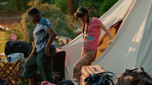 Hana Mae Lee with Jasmine + Ginger Giraffe Print Capri Pajamas in Pitch Perfect 2