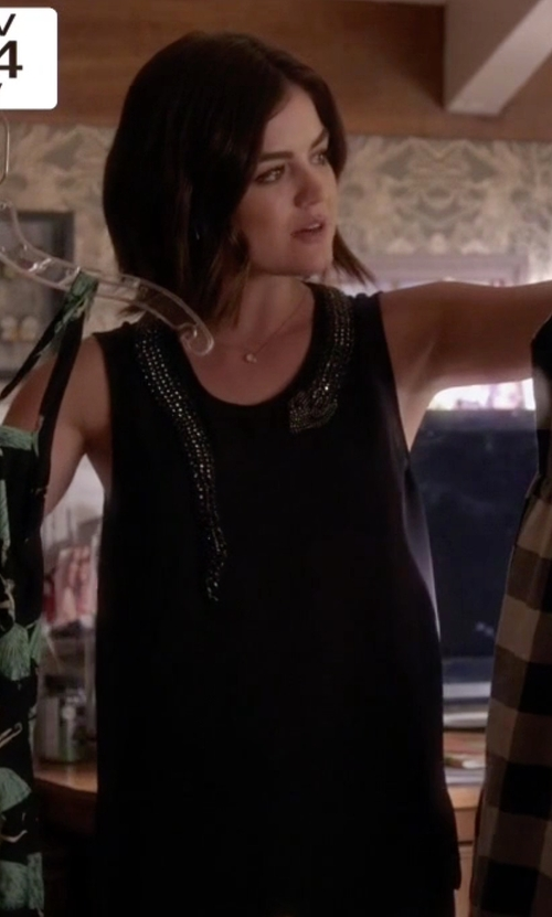 Lucy Hale with Haute Hippie Muscle Tank With Beaded Snake in Pretty Little Liars