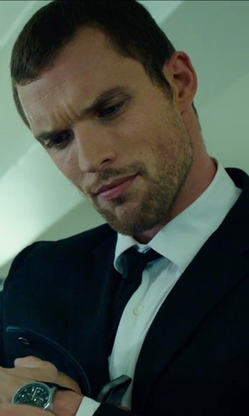 Ed Skrein with Gucci White Slim-Fit Cotton-Poplin Shirt in The Transporter: Refueled