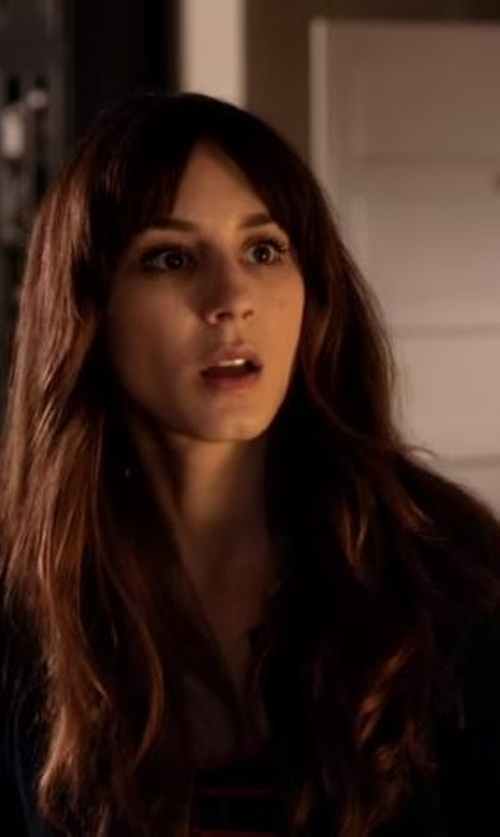 Troian Bellisario with Strenesse Round Collar Cardigan in Pretty Little Liars