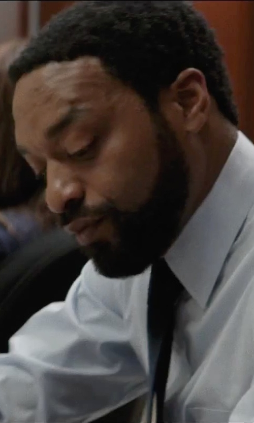 Chiwetel Ejiofor with Yves Saint Laurent Tonal Chevron Cotton Dress Shirt in Secret in Their Eyes
