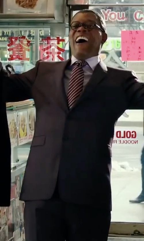 Samuel L. Jackson with Saks Fifth Avenue Collection Samuelsohn Solid Wool Suit in xXx: Return of Xander Cage