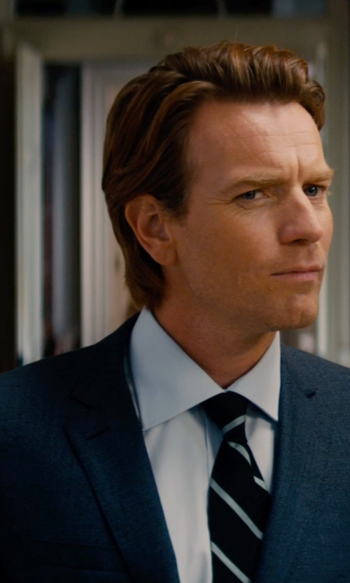 Ewan McGregor with Z Zegna Trim Fit Navy Pin Dot Wool Suit in Mortdecai