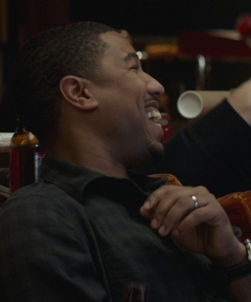 Michael B. Jordan with Bloomingdale Men's 14K White Gold Comfort Feel Plain Wedding Band in That Awkward Moment